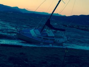 Grounded Sailboat